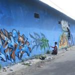 壁の落書きアート、塗り替え